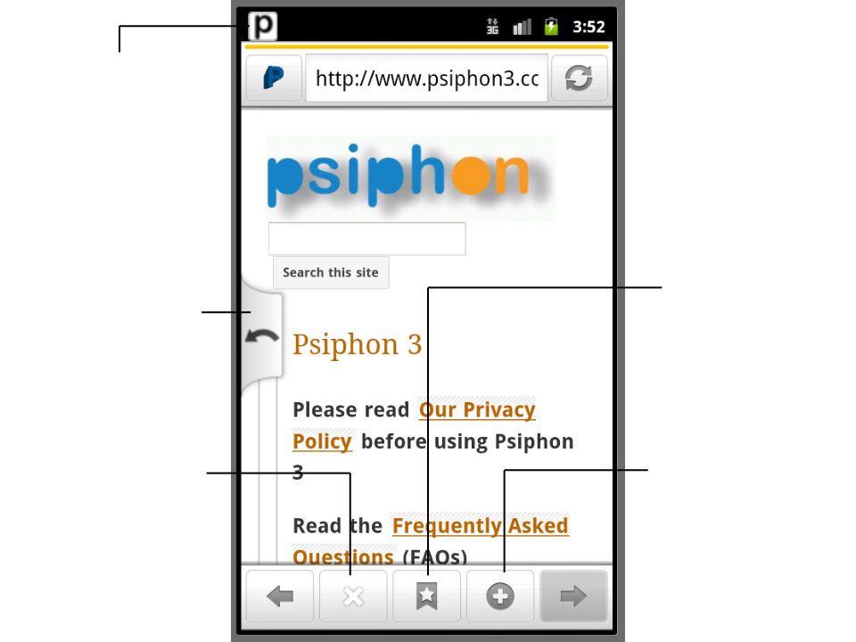 Screenshot showing the Psiphon for Android web browser